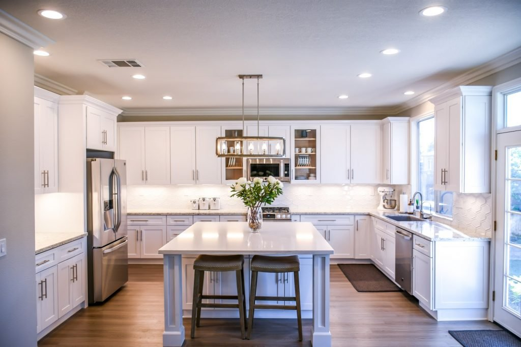 Bright and evenly lit kitchen with VIO smart downlights