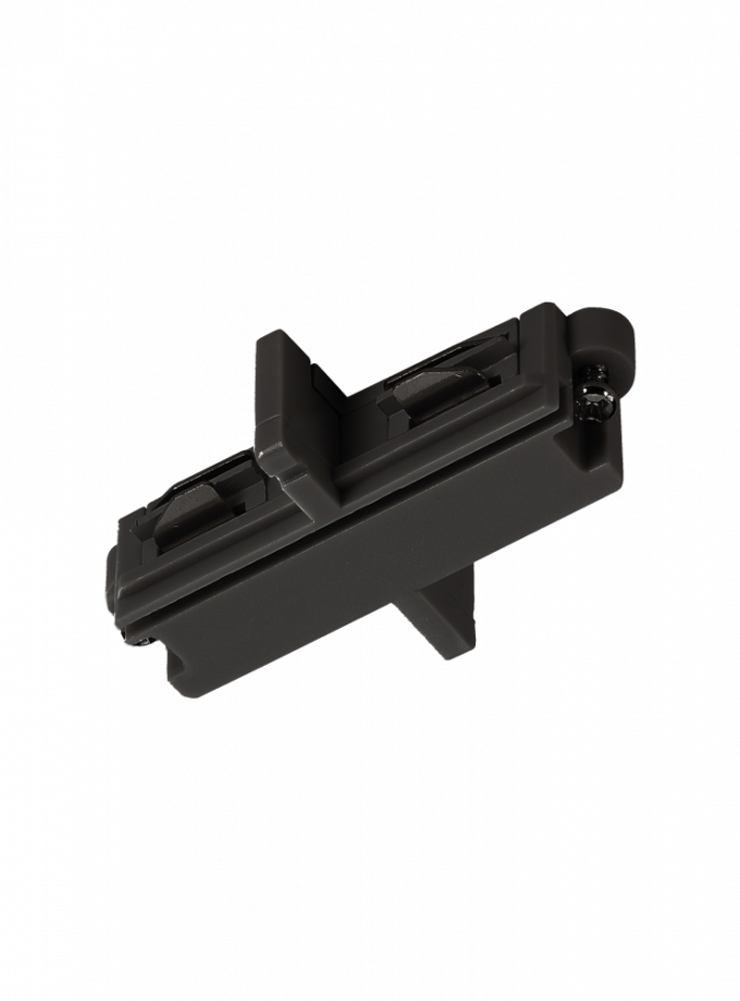 A black track light connector to join two track rails together