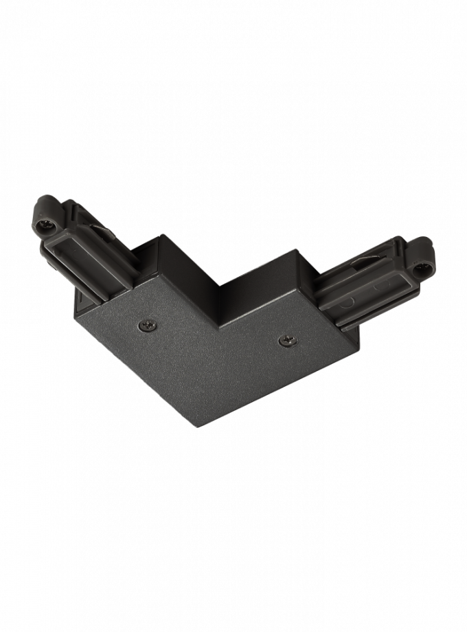 A black track light connector to join two track rails together in L shaped configuration