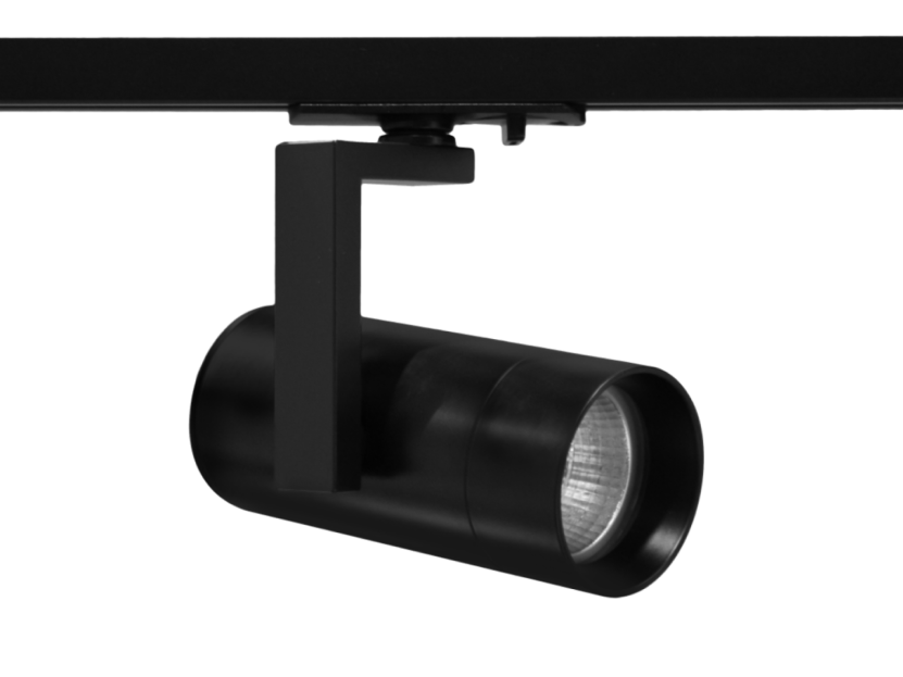 VIO black Chaser smart track light attached on a black track with a clip showing easy mounting