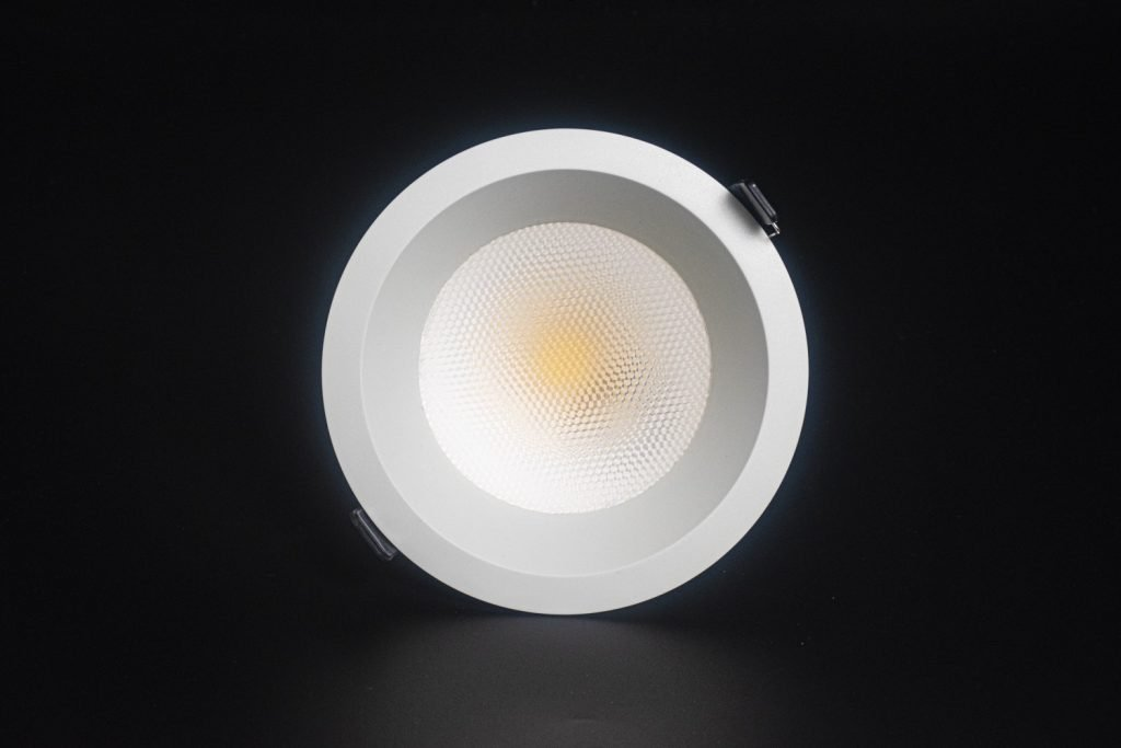 Front view of VIO Elon recessed ceiling downlight which shows the highly efficient LED chip inside