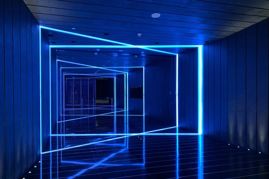 Studio being lit by VIO Colourplay Halcyon smart RGB LED strip being set to blue light