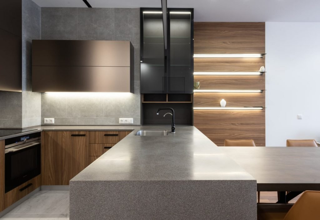Kitchen cabinetry being fitted with VIO Halcyon smart LED Strips