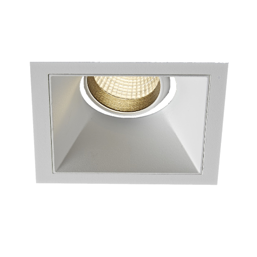VIO White Lucid single switched on to show minimal glare by sunken in design