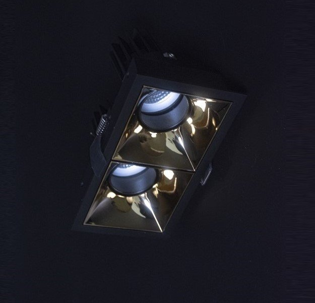 Angled View of VIO Lucid Twin smart recessed ceiling spotlight to show how glare is reduced by sunken in design