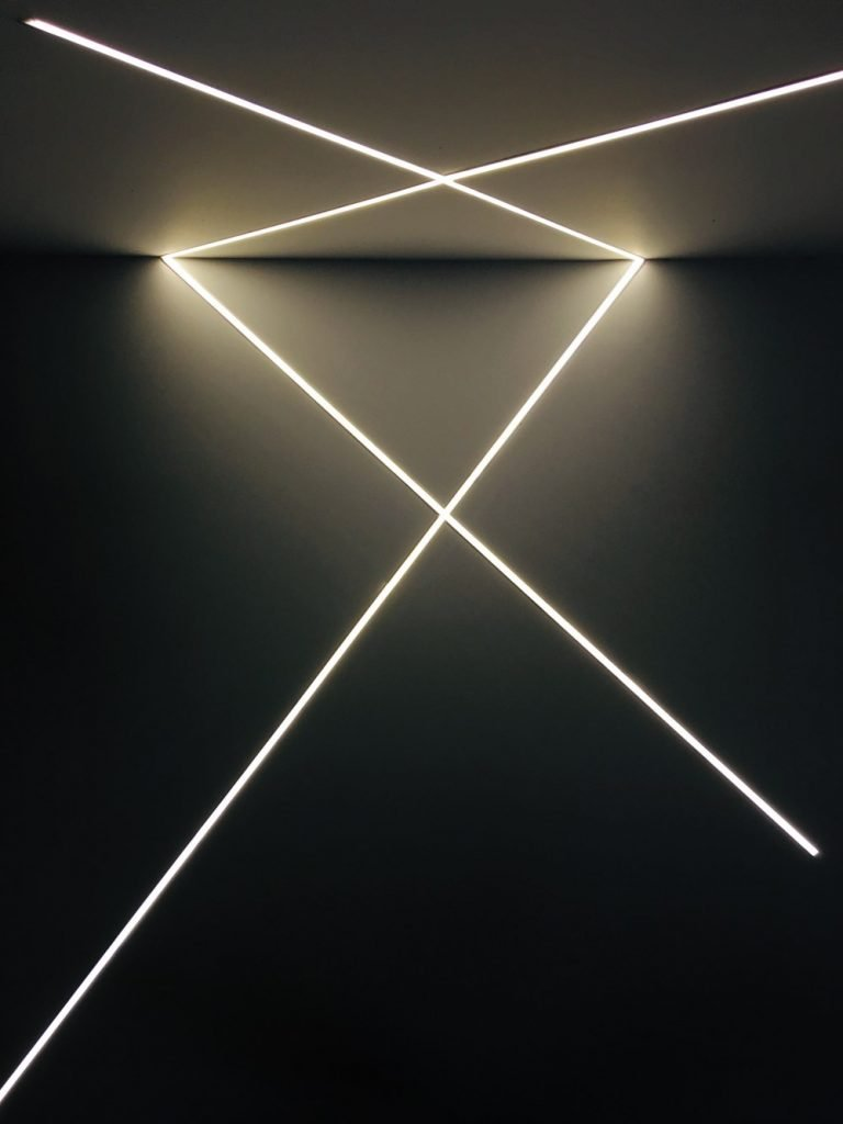 LED strip with aluminum profile installed in a criss-cross design