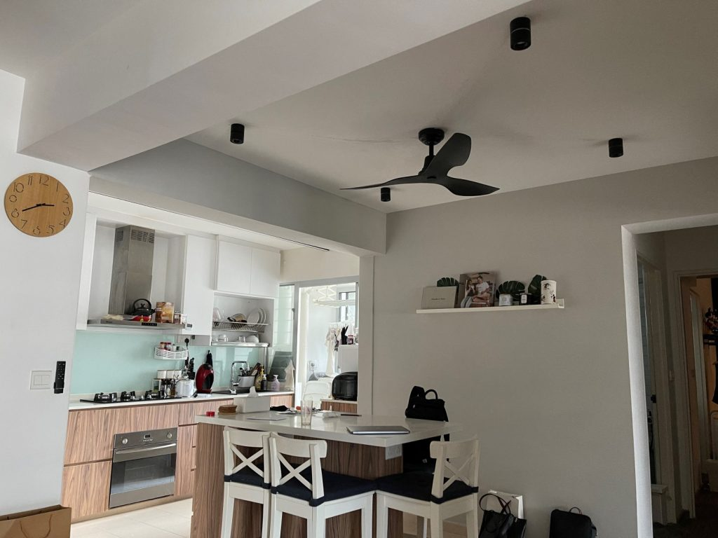 Dining room of Johnanthan Chua and Patrina fitted with 4 VIO Symmetry smart ceiling spot lights