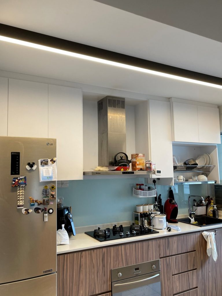 Kitchen Lighting idea with VIO Halcyon smart LED strip installed along the ceiling for even illumination