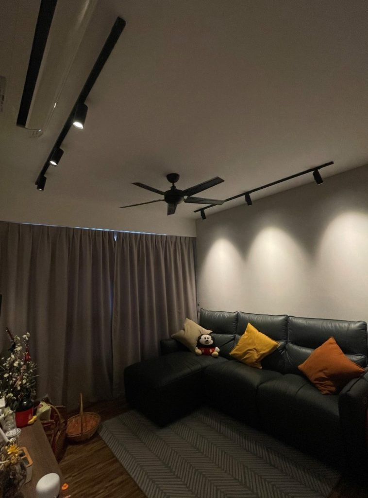 Living room lighting idea without false ceiling with VIO Chaser smart track light as main light source
