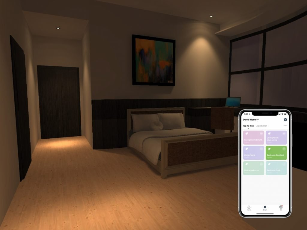 A simulation of bedroom controlled by VIO smart home app scene selection feature