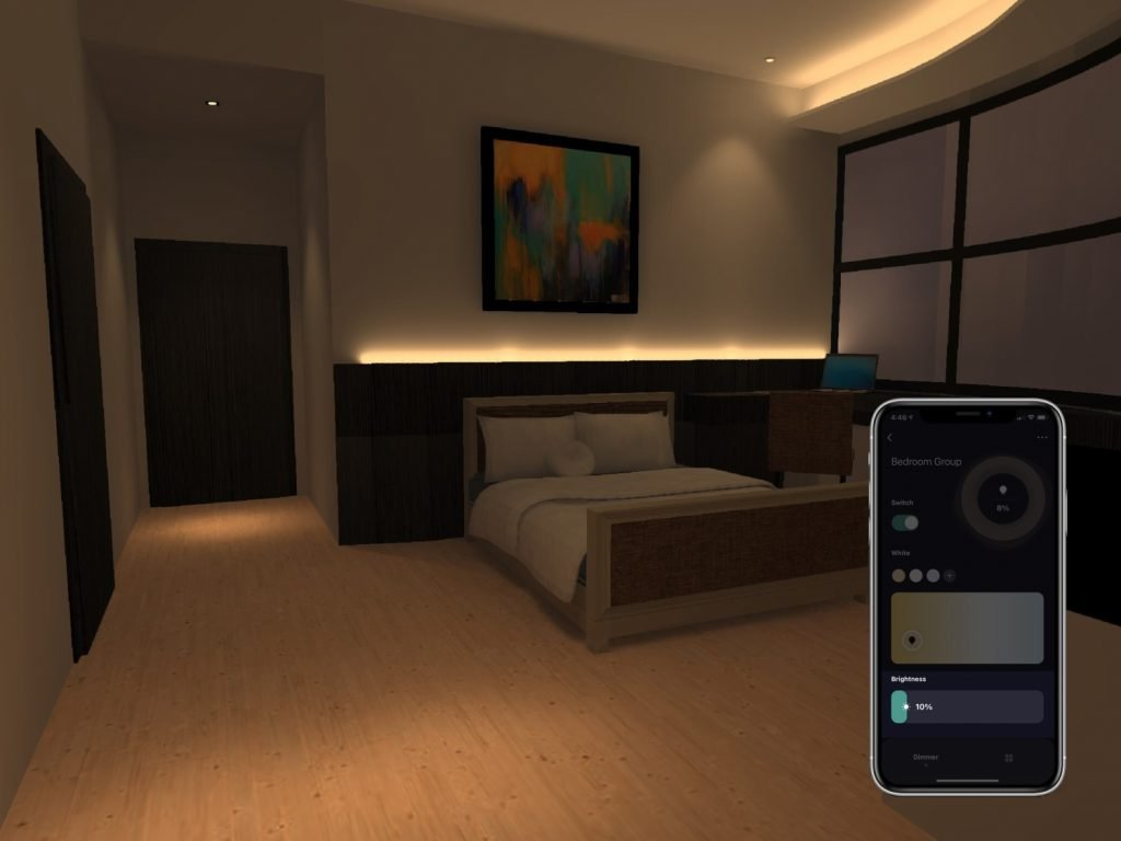 Bedroom fitted with VIO smart lights being dimmed conveniently with VIO smart home app