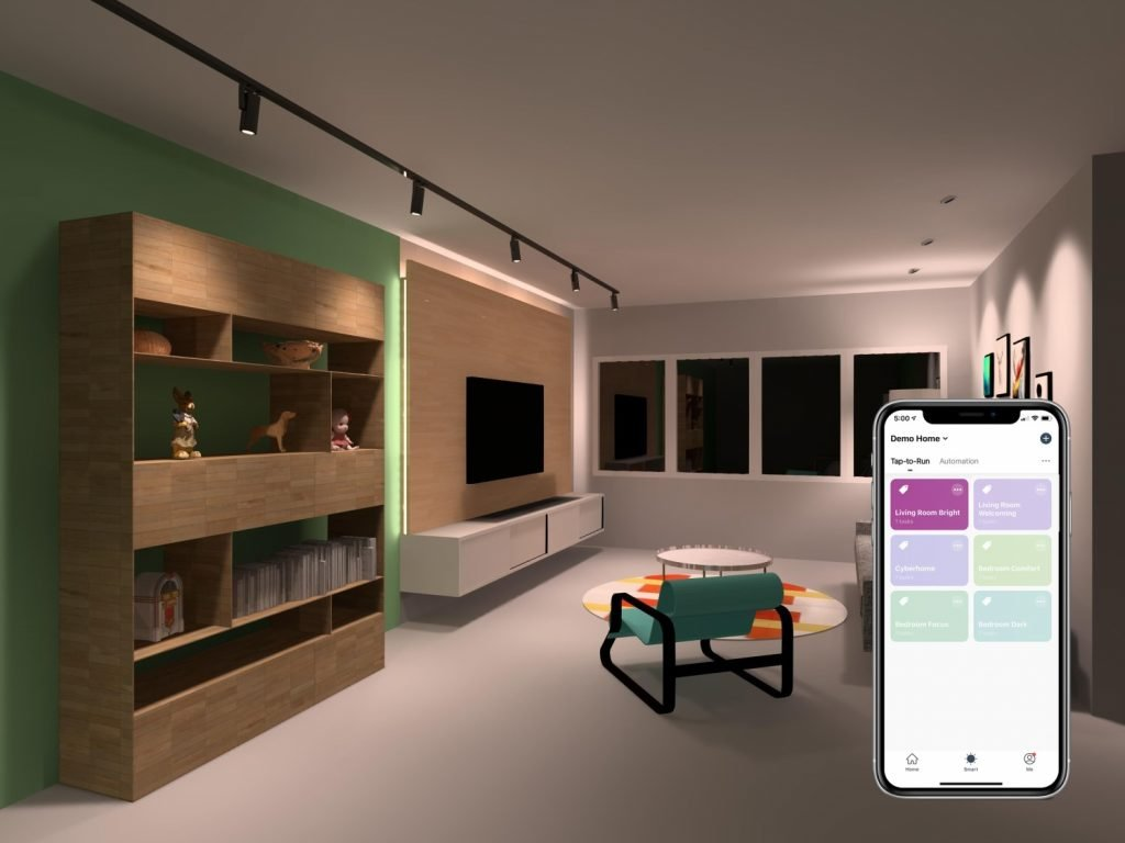 Living room fitted with VIO smart light which allows for seamless control