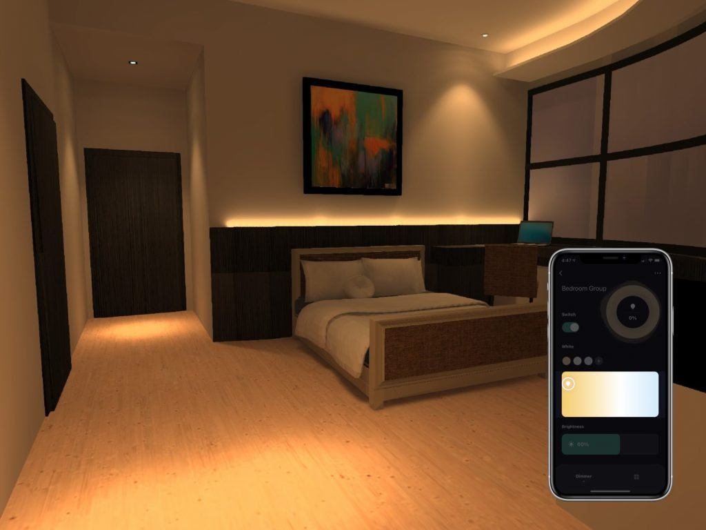 Bedroom fitted with VIO smart lights having its white colour temperature adjusted easily with VIO app