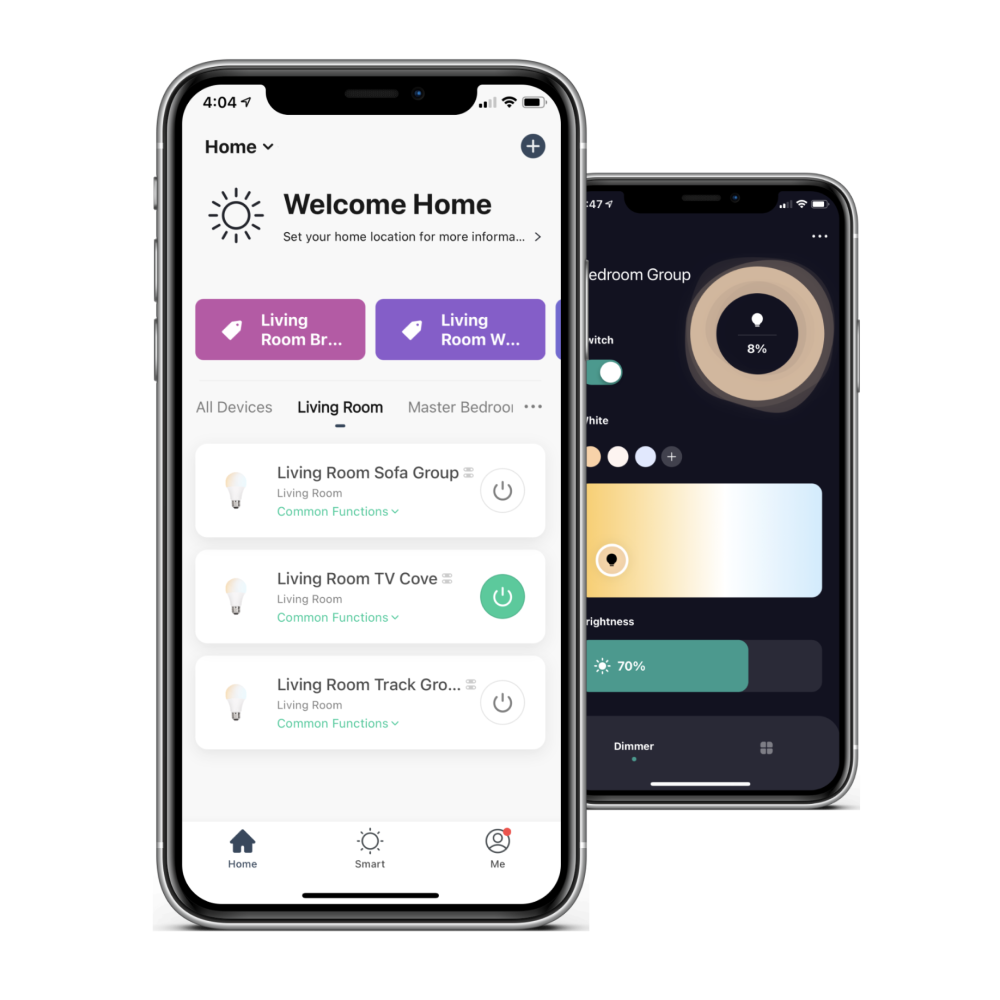 VIO smart home app showing home page and smart light setting page
