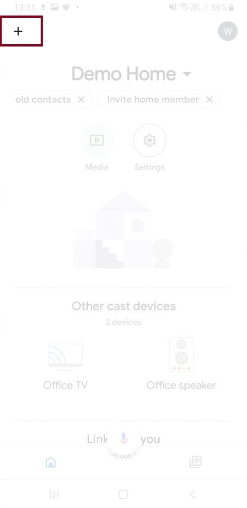 Google Assistant home page add a device